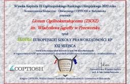 I LO w Przeworsku z tytułem Złotej Europejskiej Szkoły Praworządności RP